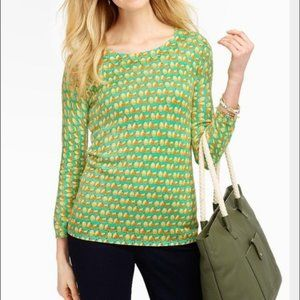 Talbots Pear Print Pullover Button Back Sweater